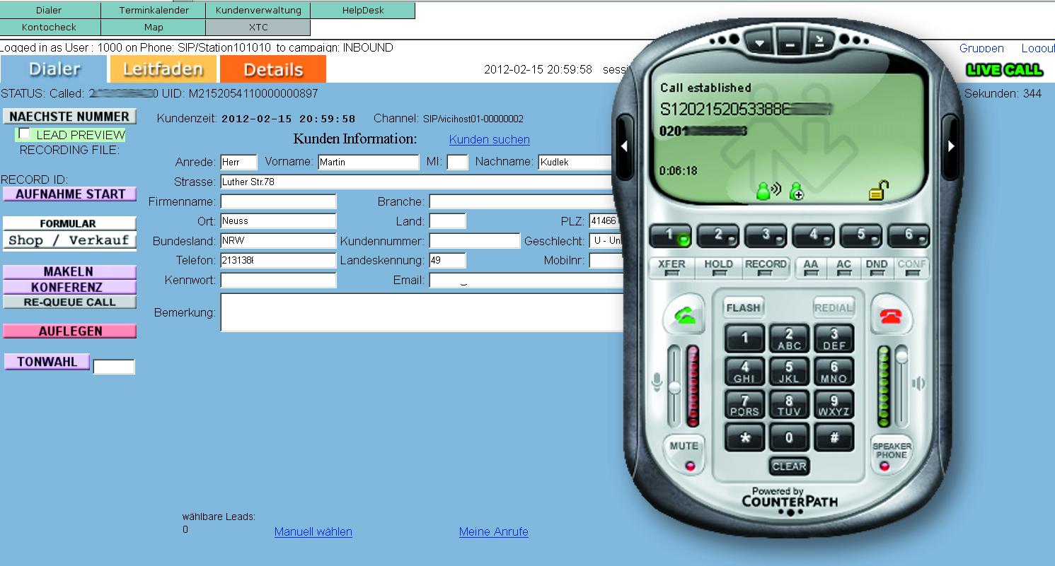 Web Dialer im Einsatz mit einem Softphone